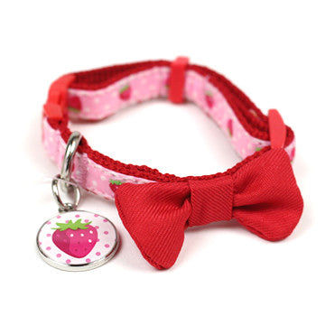 Strawberry Collar with Red Bow - Hannari  - 1