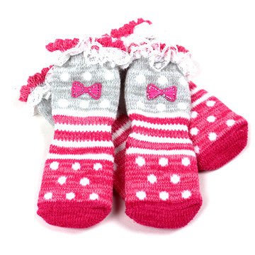 Pink Patterned Socks - Hannari  - 1