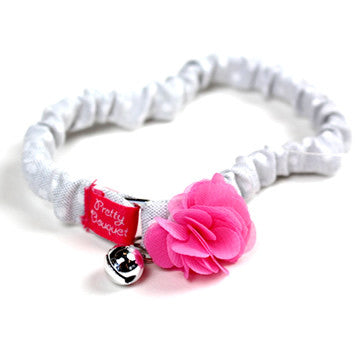 White Cat Collar with Pink Flower - Hannari