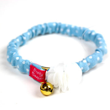 Blue Cat Collar with White Flower - Hannari