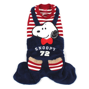 Snoopy Red Stripe Shirt with Overalls - Hannari  - 1