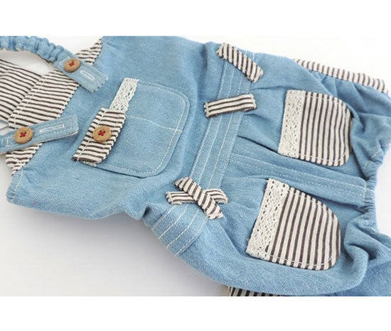 Striped Detail Denim Overalls - Hannari  - 3