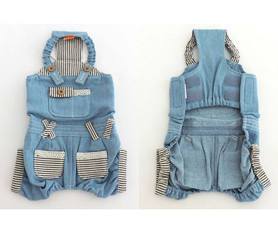 Striped Detail Denim Overalls - Hannari  - 4
