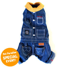 Denim Romper with Knit Collar - Hannari  - 4