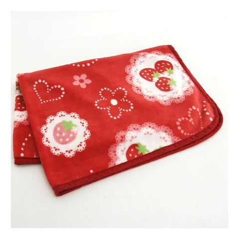 Cutie Strawberry Lace Print Soft Blanket - Hannari  - 1