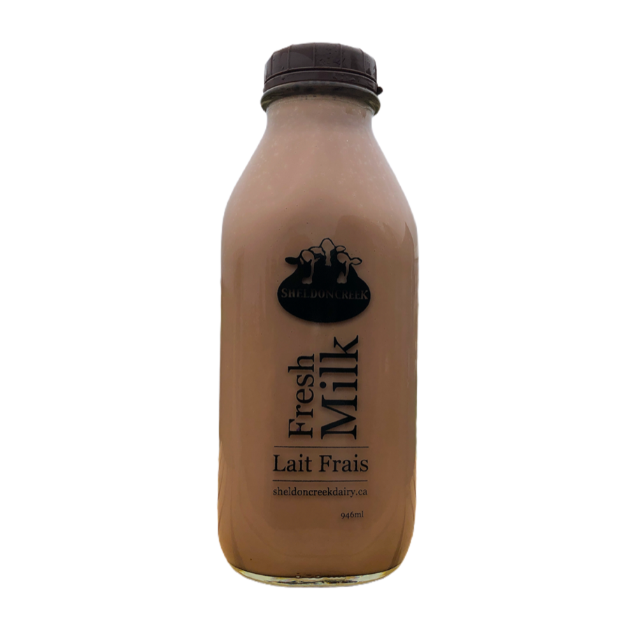 Chocolate Milk 1Qt Glass Bottle - From The Farmer.ca