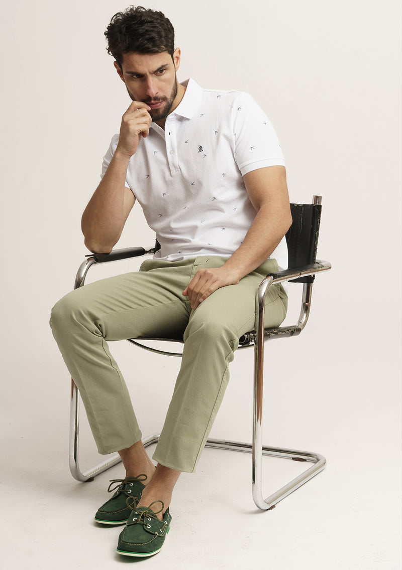 POLO ESTAMPADO BLANCO