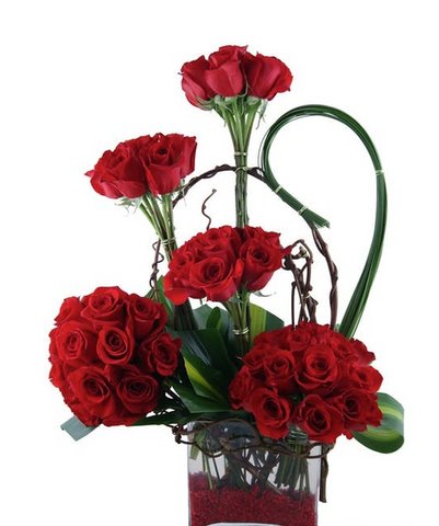 Modern Red Rose Bouquet