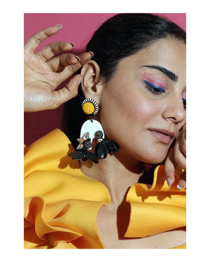 Monochrome Fushia Drop Earrings
