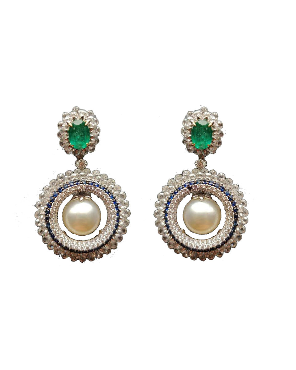 Diamond Earrings with Pearl and Emerald