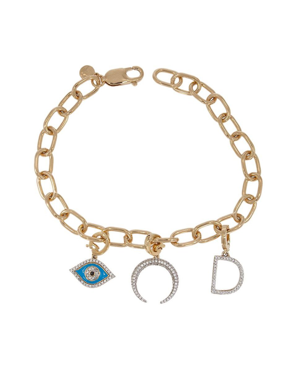 Charm Link Bracelet With 3 Charms