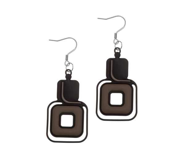 Pythagore Earrings. Black & Grey