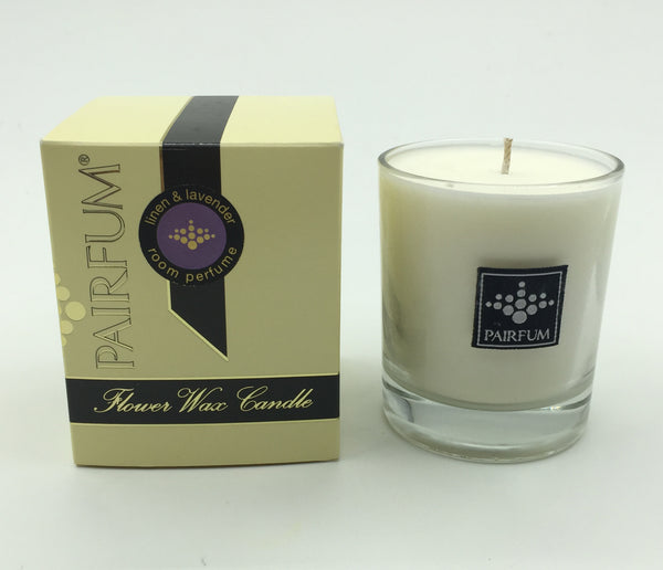 Linen & Lavender Flower Wax Candle