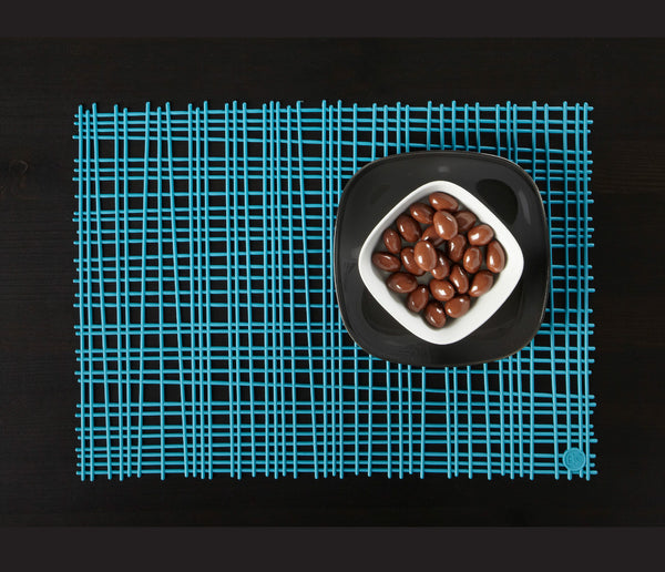 Bambou Placemat. Cyan. Set of 2
