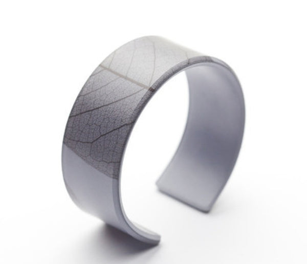 Fossil Leaf Gray Narrow Cuff