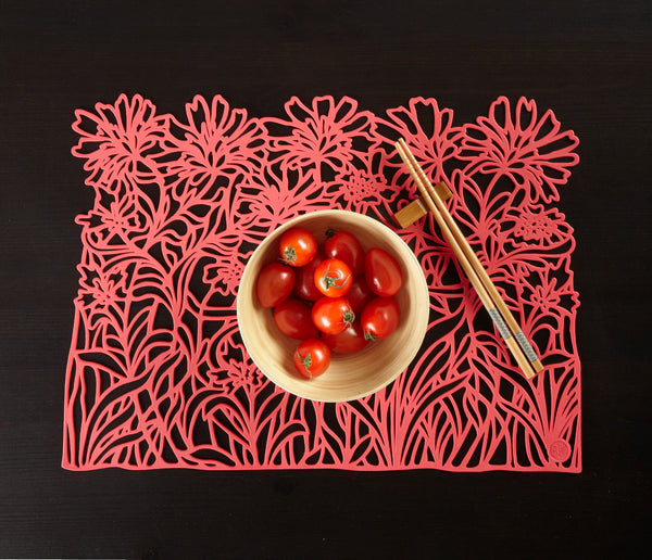 Vegetal Placemat. Coral. Set of 2