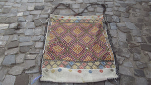 Vintage Turkish Kilim Camel Bag (Flatweave, Embroidered, With Original Strap) Handmade, All Wool - 3.4x2.6 ft