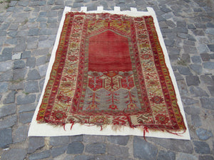 "Vintage Turkish/Anatolian Carpet (wall hanging), handmade, all wool, professionally mounted - 5'7""""x3'7"" Antique rug,Nomedic rug,"