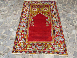 Circa 1870 Turkish Rug ,Central Anatolian Pray Rug ,Antique rug, Nomedic vintage rug, fine condition, natural dyes, all wool  6'0x3'7 feet