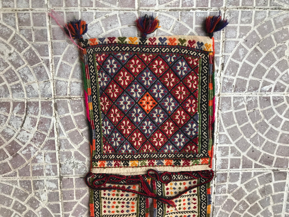 Circa 1920 Turkish Kilim Dankey and horse Bag (Flatweave, Embroidered, With Original Strap) Handmade, All Wool -Antique 4'3x1'7 ft