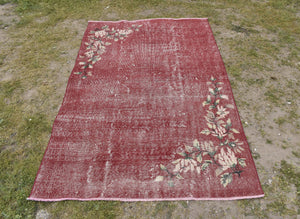 Overdyed Rug, Handmade Rug  3.11 x 6.5 ft , Red Rug, Low Pile Rug, Turkish Rug, Oushak Rug, Turkey Rug, Red, Free Shipping, Rug #TR2127