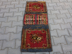 Antique Horse  bag Vintage Anatolian horse sack    Handmade,All wool, Pastel Area rug,Halway rug,Nomedic Rug,Antique Turkish Oushak rug