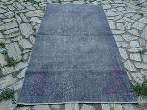 Overdyed Rug, Gray Rug, Unique Rug, Distressed Rug, 4.0 x 7.4 ft ,Turkish Oushak Rug, Low Pile Rug, Traditional Rug, Handknotted Rug #TR2928