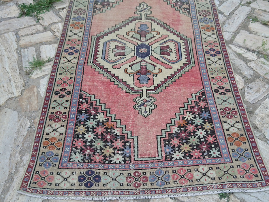 Pale Pink Rug, Hand Knotted Rug, 3.6 x 6.4 ft , Area Rug, Cotton Rug, Bohemian Rug, Distressed Rug, Tribal Rug, Vintage Oushak Rug#TR2587