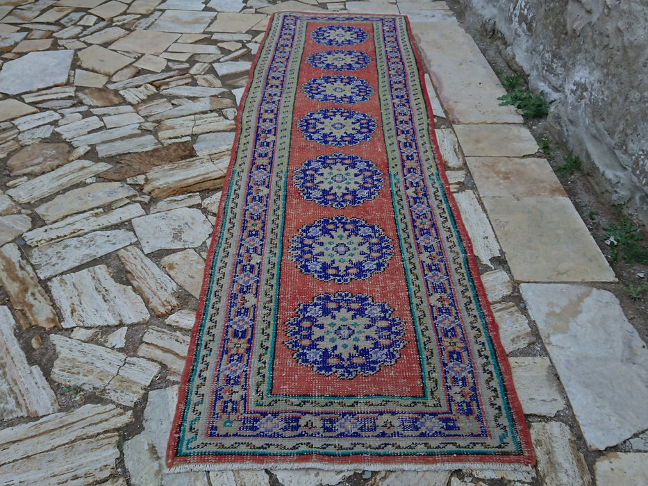 Blue Hallway Rug, Turkish Oushak, 2.9 x 10.2 ft , Runner Rug, Organic Rug, Traditional Rug, Distressed Rug, Kitchen, Low Pile Rug #TR0082