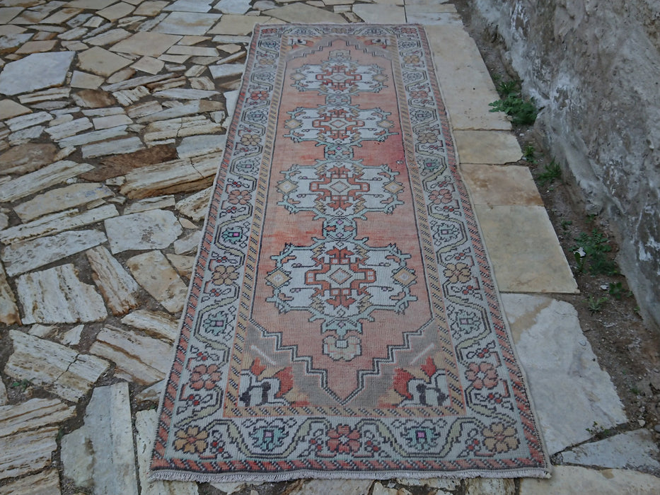 Faded Kitchen Runner Rug, Hand Knotted Rug, Distressed Rug, 3.3 x 9.8 ft , FREE SHIPPING, Low Pile Rug, Turkish Vintage Rug, Hallway #TR2227