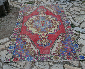 Vintage Varoş Rug ,Turkish Rug, Distressed Rug, Area Rug, Decorative Rug, Distressed Rug, 4.7 x 7.4 ft , FREE SHIPPING, Low Pile Rug #TR2216