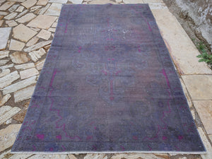 Overdyed Rug, Distressed Rug , Purple Overdyed Rug, Free Shipping Rug, 4.2 x 6.11 ft , Area, Bathroom, Office Rug, Unique, Nursery #TR2859