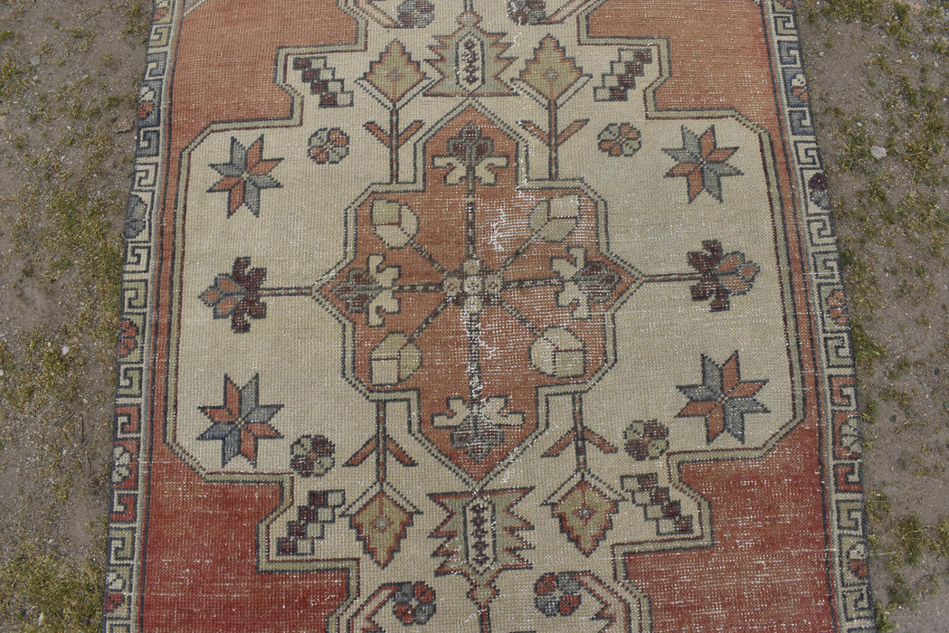 Orange Rug, Low Pile Rug, Faded Rug, Turkish Rug, Oushak Rug, Handmade Rug 3.8 x 8.0 ft , Handknotted Rug, Distressed, Vintage, Rug #TR2140