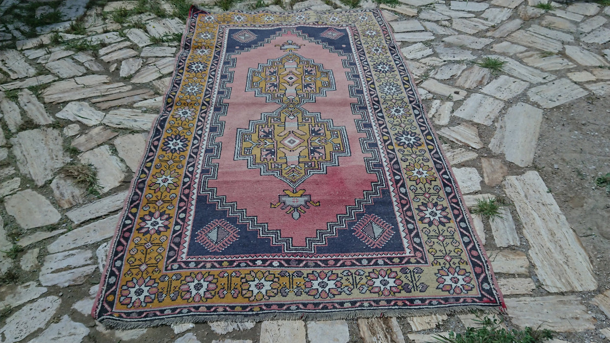 Handknotted Rug, Unique Rug, Yellow Rug, 4.1 x 7.10 ft , Pink Rug, Office Rug, Bathroom Rug, Turkey Rug, Boho Decor Rug, Blue #TR2690