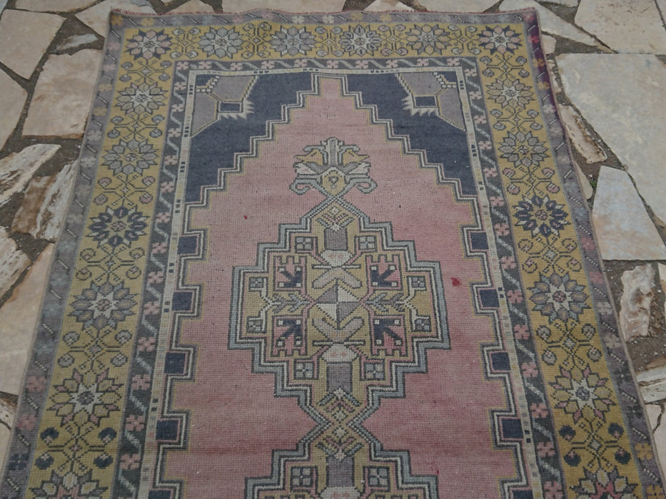 pale pink rug, handknotted rug, decorative rug, boho decor rug, low pile rug, organic rug, 3.9 x 7.2 ft , area rug, traditional rug #TR2756