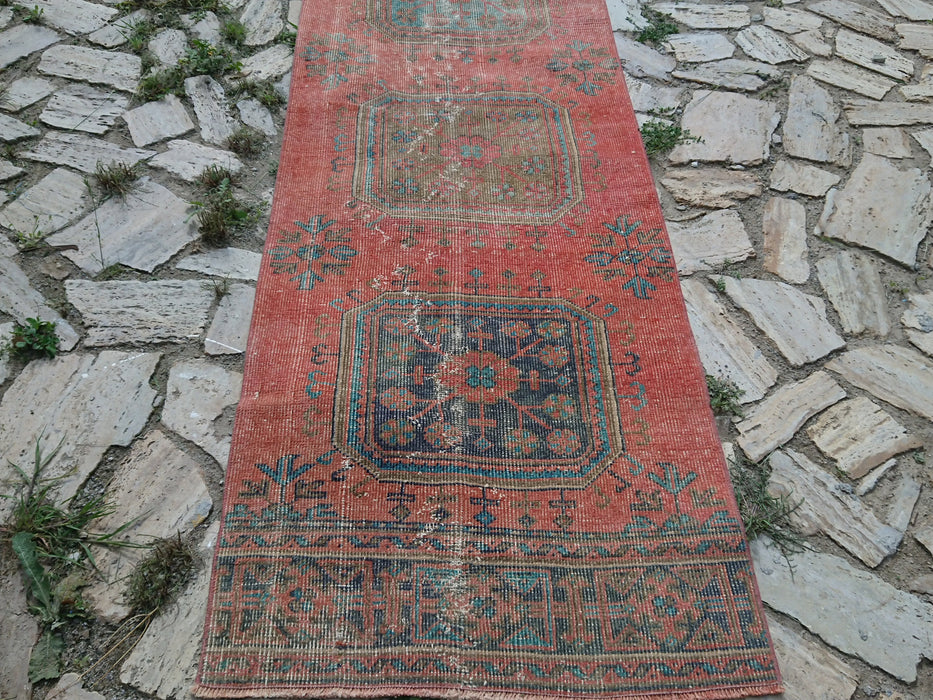 Handknotted Rug, Runner Rug, Red Turkish Rug, Vintage Oushak Rug, Handmade Rug, 2.7 x 12.7 ft , Red Corridor Rug, Kitchen Rug, Floor #TR2880