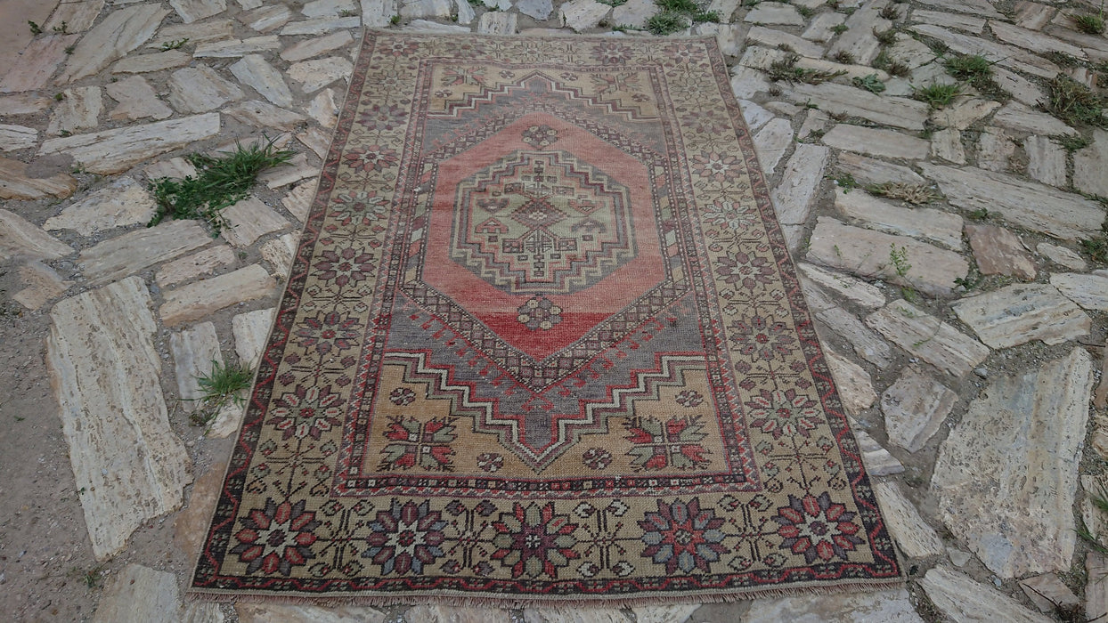 Floor Rug, Decorative Rug, 3.6 x 5.10 ft , Hand Knotted Rug, Medium Size Rug, Nomadic Rug, Vintage Oushak Rug, Faded Rug, Bohemian #TR2594