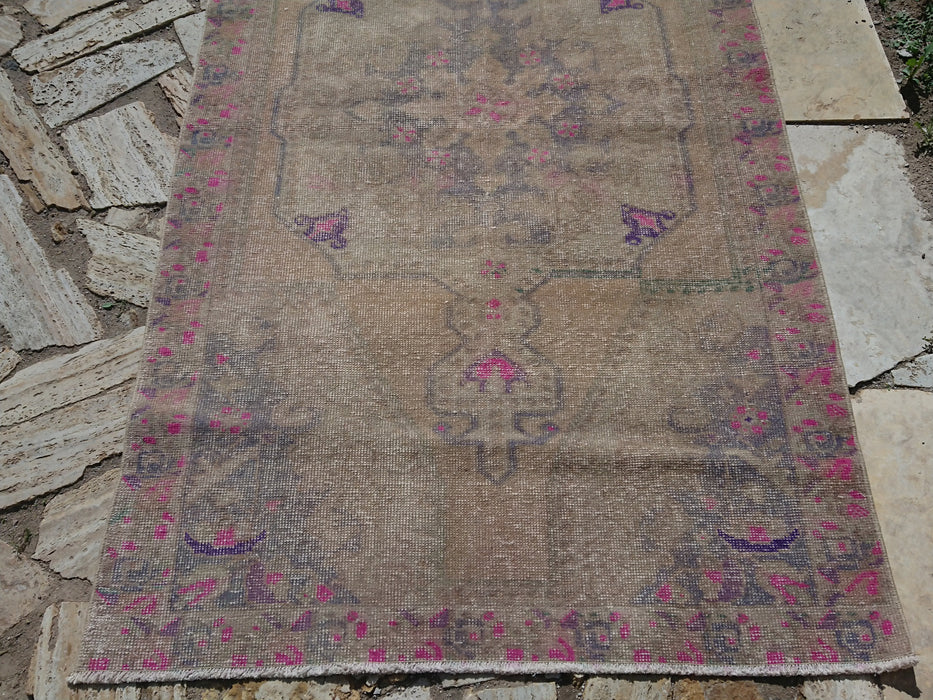 faded rug, FREE SHIPPING, low pile rug, muted rug, 4.0 x 7.3 ft , carpets, area rug, organic rug, turkey, bohemian rug, organic rug #TR0428