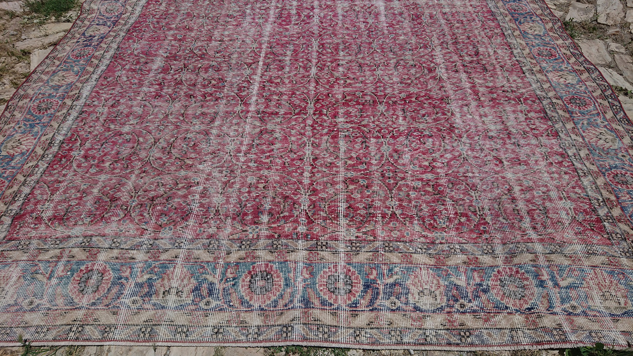 red large rug, FREE SHIPPING, 9.0 x 13.2 ft , oversize rug, tribal rug, muted rug, decorative rug, room size rug, floor rug, boho #TR7411