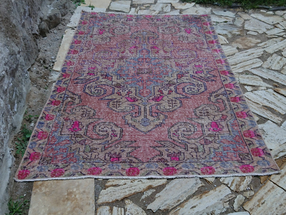 Pale Pink Area Rug, Handmade Rug, Low Pile Area Rug, FREE SHIPPING, 4.8 x 7.2 ft , Oushak Rug, Vintage Rug, Distressed Rug, Bathroom #TR2864