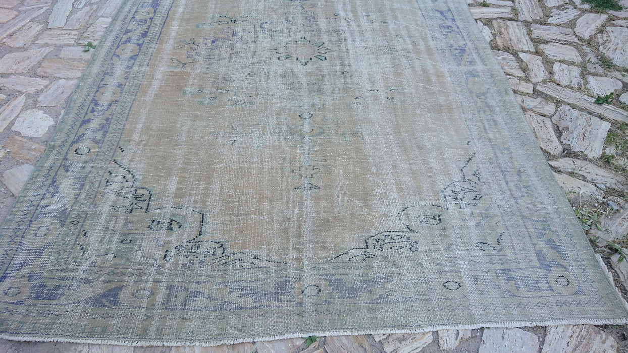 distressed large rug, turkey rug, oversize rug 6.6 x 10.0 ft , room size rug, muted rug, living room rug, carpets, antique rug, #TR7460