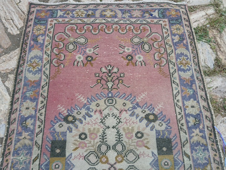 pale pink rug, distressed rug, low pile rug, FREE SHIPPING, 3.4 x 6.3 ft , area rug, bohemian rug, decorative rug, cotton rug, #TR2841