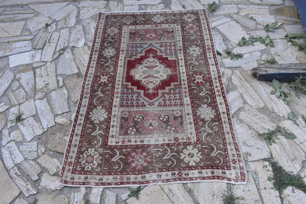 low pile rug, antique rug, distressed, carpets, FREE SHIPPING, 3.7 x 5.8 ft , ethnic rug, traditional rug, handmade rug, bohemian #TR7479