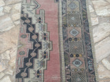 runner rug, unique rugs, hallway rugs, 2.2 x 7.9 ft , vintage oushak rugs, handmade rugs, pale green rugs, kitchen rugs, area rugs #TR7298