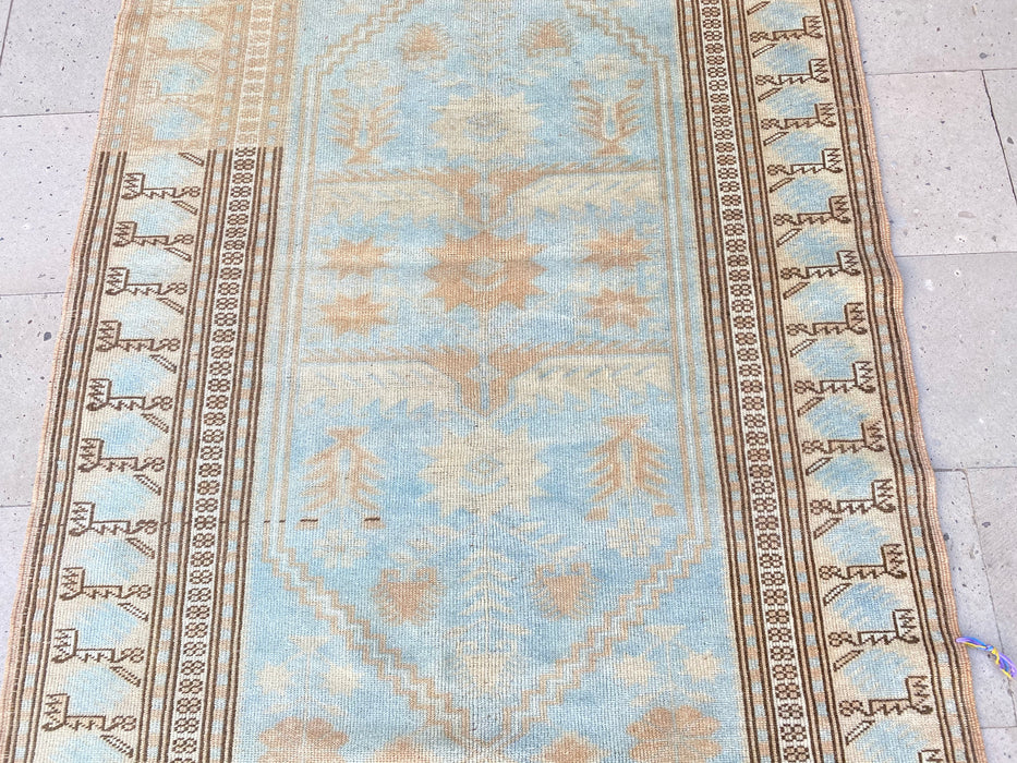 pale blue rug, oushak rugs, vintage rugs, decorative rugs, 3.10 x 6.9 ft , area rugs, muted rugs, bedroom rug, turkish rugs, home #TR0825