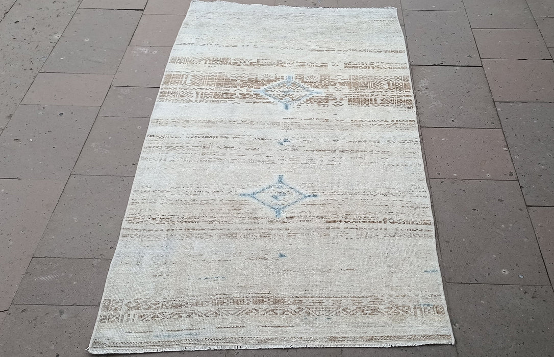 turkish rug, pale rugs, special rug, turkish rug, 3.4 x 5.11 ft , white rugs, home rugs, vintage rugs, boho rugs, carpets, area rugs #TR0969