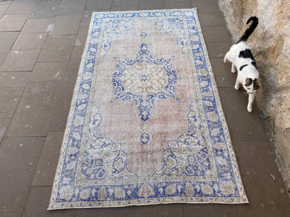 3.9 x 6.7 ft blue turkish rug oushak rug vintage handmade rug  bedroom carpet faded hand knotted pale rug oriental decorative rug  #TR0947