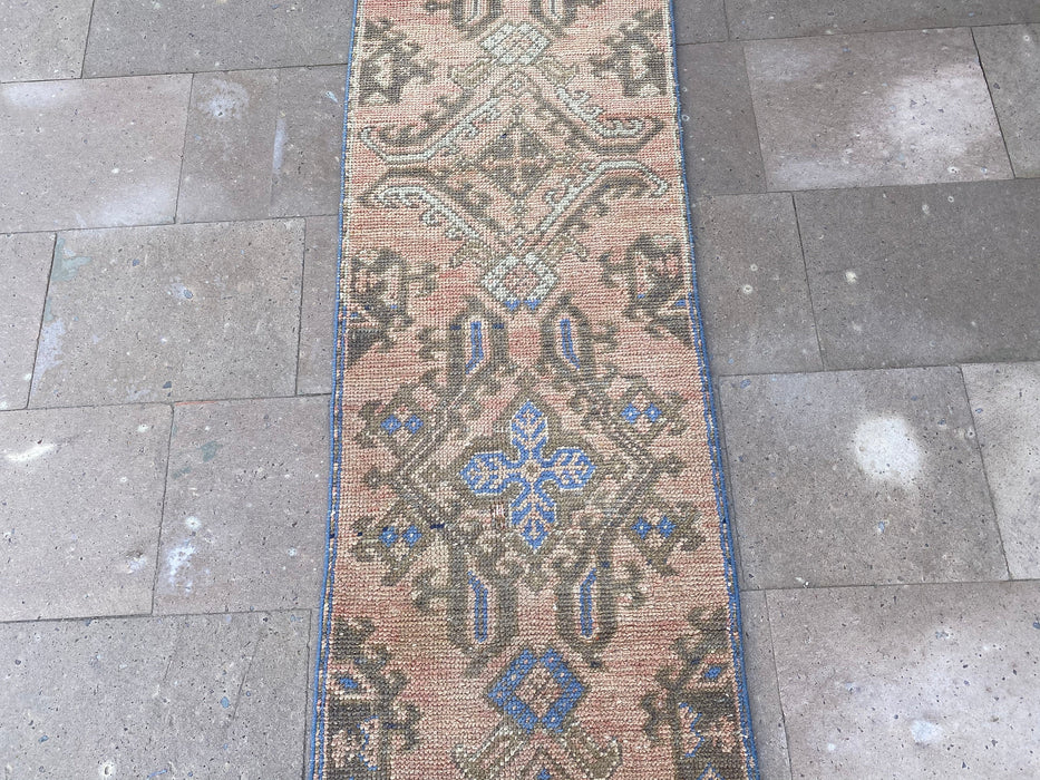 1'11 x 9'9'' ft , turkish runner rug , handmade boho rug , corridor rug , free shipping rug , hallway rug , kitchen floor carpets #TR0892