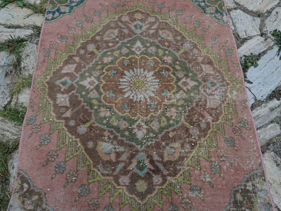3' x 12'6'' ft , oushak runner rug , boho entryway rug , kitchen turkish carpets, corridor rug , vintage rug , hallway runner rug #TR2213