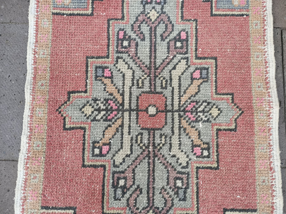 handmade rugs, pale pink small rugs, 1.9 x 3.0 ft , low pile rug, turkish rugs, area rugs, carpets, hand wowen rugs, doormat rugs #TR2460